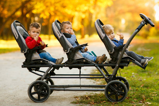 The happy triplets sit in a  baby stroller and eat cookies at autumn par The happy triplets sit in a  baby stroller and eat cookies at autumn par baby stroller stock pictures, royalty-free photos & images