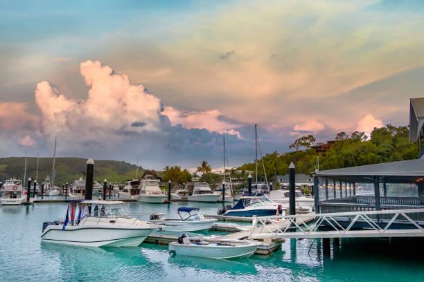 The Harbor and boats moored in Hamilton Island, Australia. stock photo