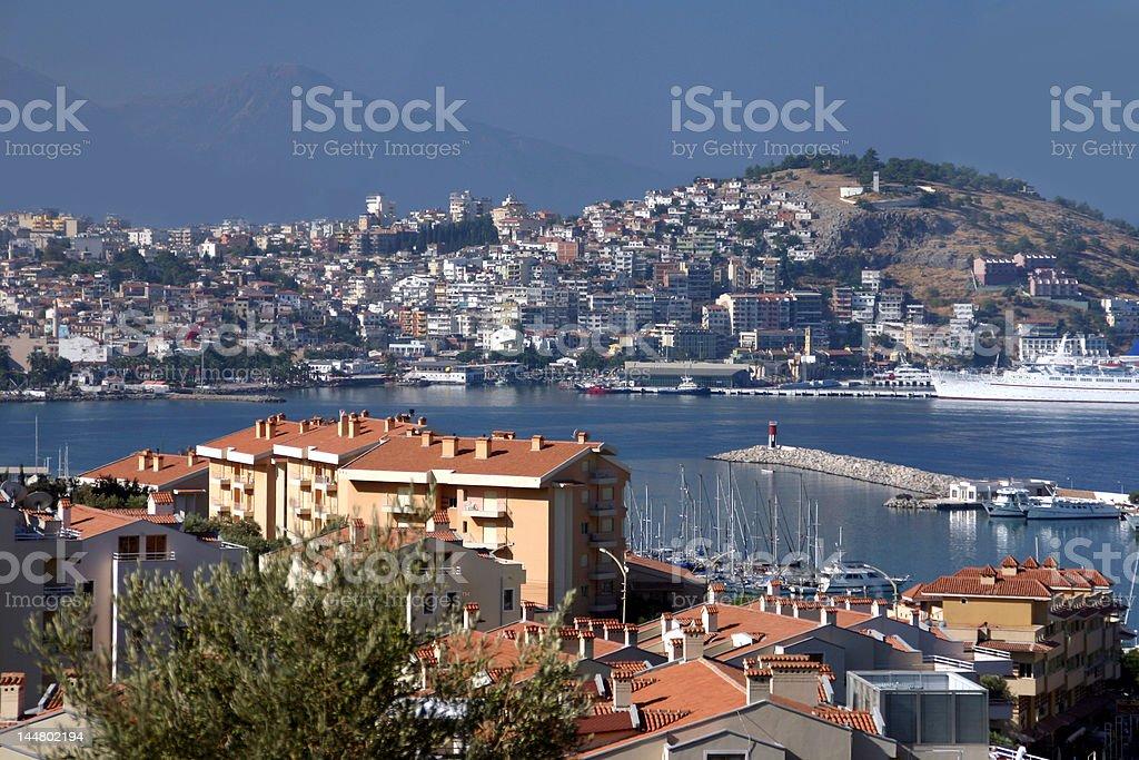 The harbor in Kusadasi, Turkey stock photo