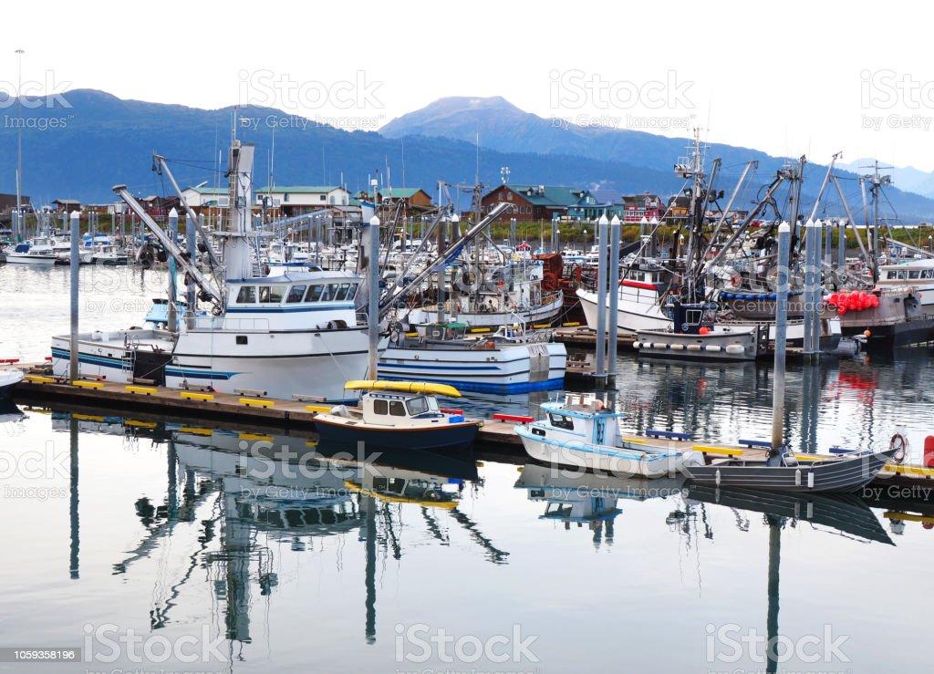 The Harbor Marina and Docked Ship and Boats in Homer Alaska stock photo