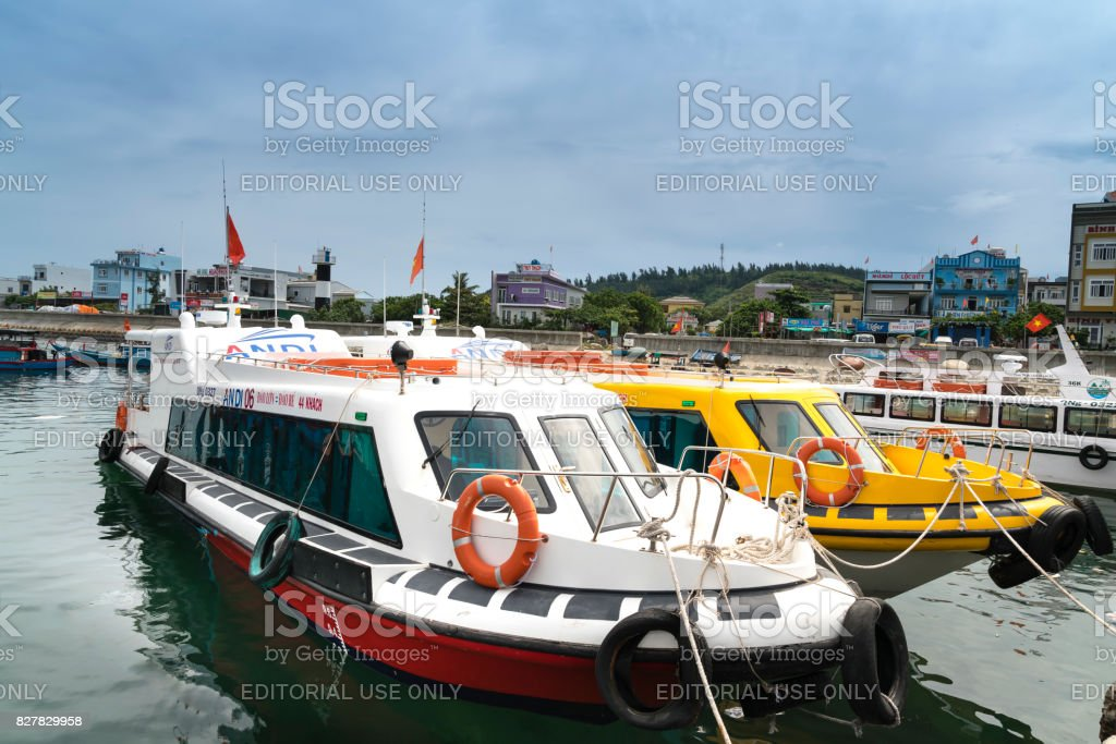 the harbor on Ly Son Island in Quang Ngai Province, Vietnam stock photo