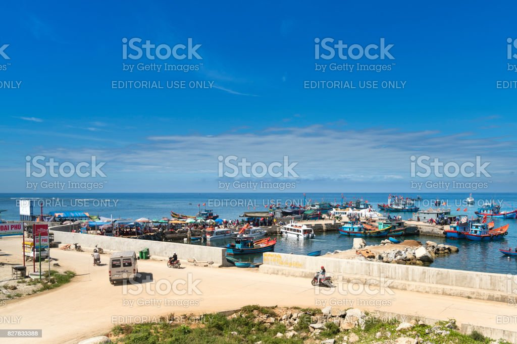 the harbor on Ly Son Island in Quang Ngai Province, Vietnam. stock photo