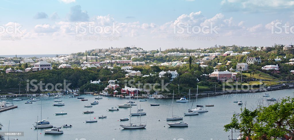 The Harbor Road and Harbour  in Hamilton, Bermuda stock photo
