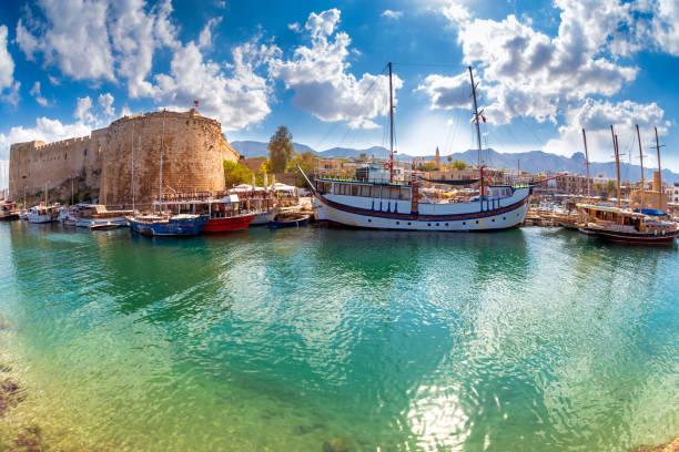 the harbour and medieval fort at kyrenia. cyprus - cyprus стоковые фото и изображения