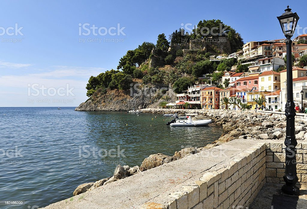 The harbour area at Parga, Greece stock photo