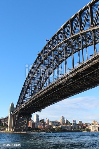 World-famous Steel Bridge in the city centre of Sydney