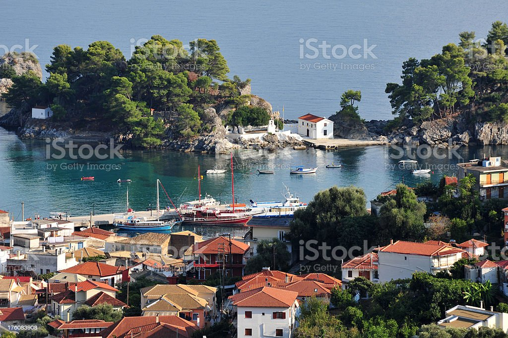 The harbour in Parga, Greece stock photo