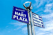 Detroit, MI, USA - July 16, 2006: Welcome to Hart Plaza signpost in Detroit MI