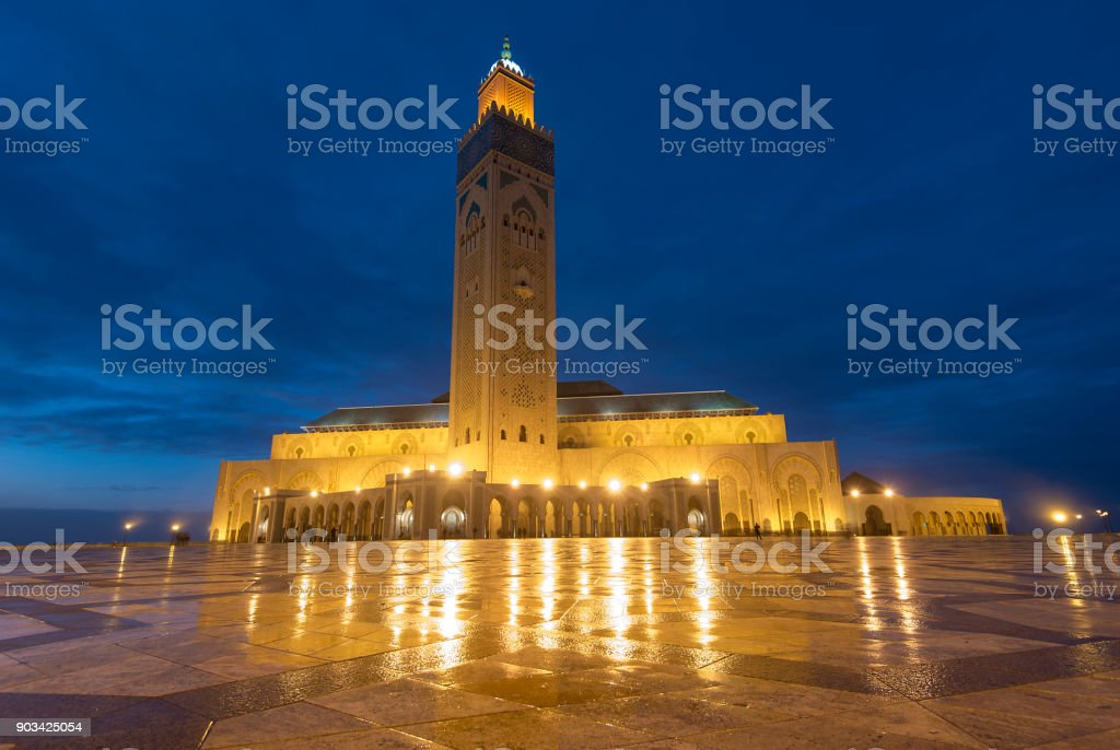 The Hassan II Mosque in Casablanca, Morocco. Night view stock photo