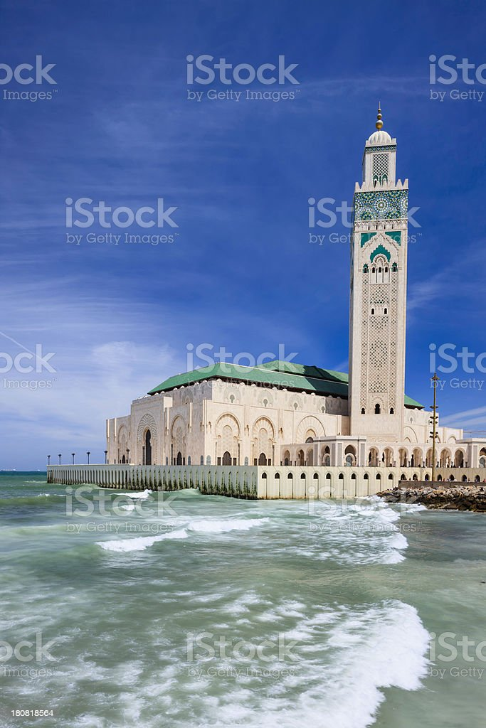 The Hassan II Mosque in Casablanca, Morocco royalty-free stock photo