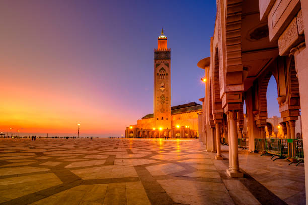 The Hassan II Mosque is a mosque in Casablanca, Morocco. It is the largest mosque in Morocco with the tallest minaret in the world. stock photo