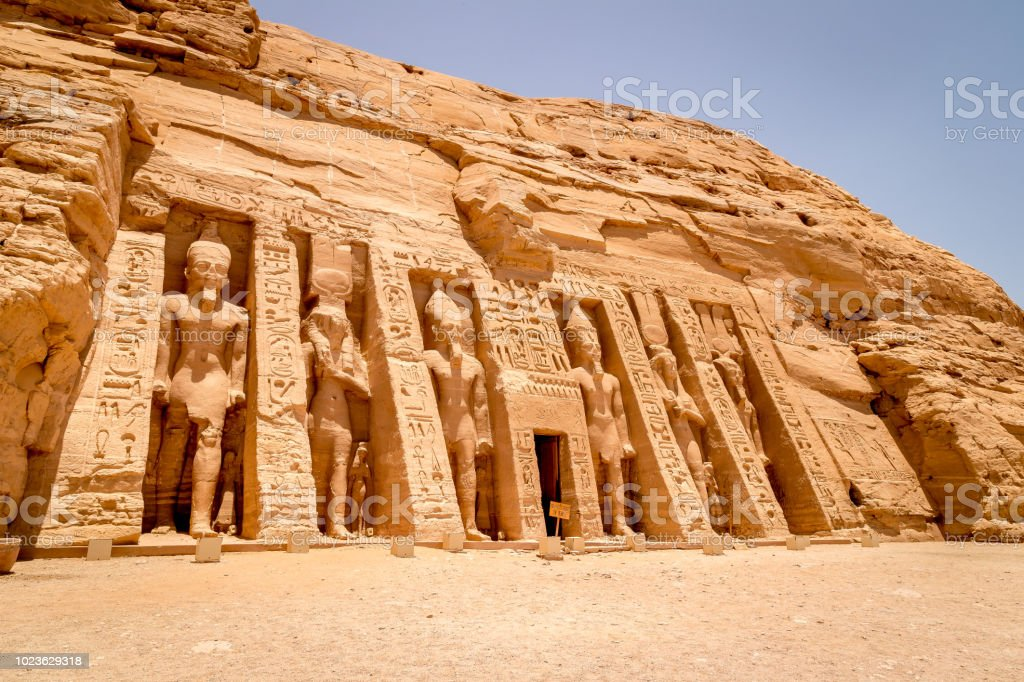 The Hathor Temple of Queen Nefertari at Abu Simbel in Egypt stock photo