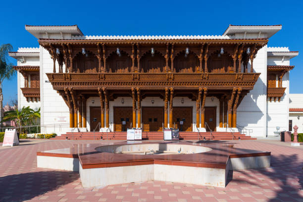 The Haveli Building (Visitor's Center) of the BAPS Shri Swaminarayan Mandir in Chino Hills stock photo