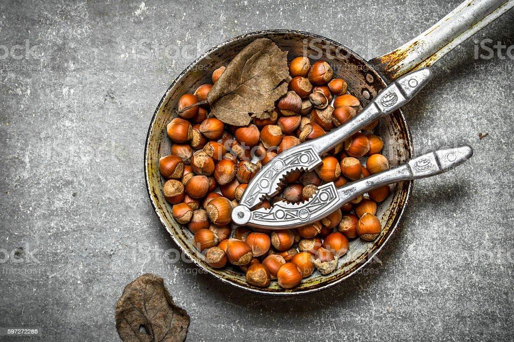The hazelnuts in an old pan. Lizenzfreies stock-foto