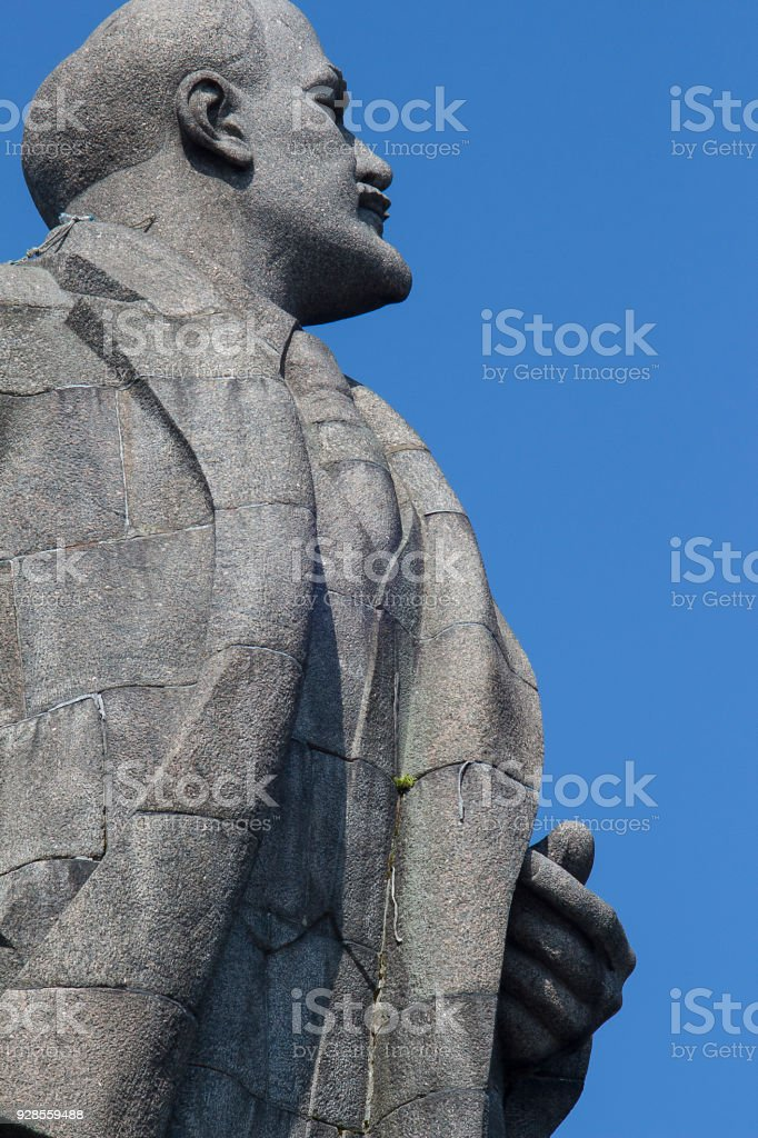 The head of the monument of V. I. Lenin, Dubna, Russian Federation stock photo