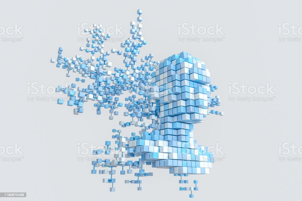 The head of the virtual robot with concepts of artificial intelligence, 3d rendering. The head of the virtual robot with concepts of artificial intelligence, 3d rendering. Computer digital drawing. 3D Scanning Stock Photo