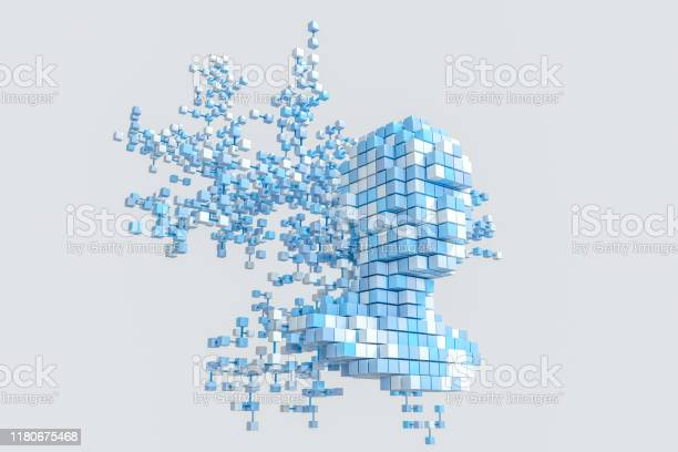 The Head Of The Virtual Robot With Concepts Of Artificial Intelligence 3d Rendering Stock Photo - Download Image Now