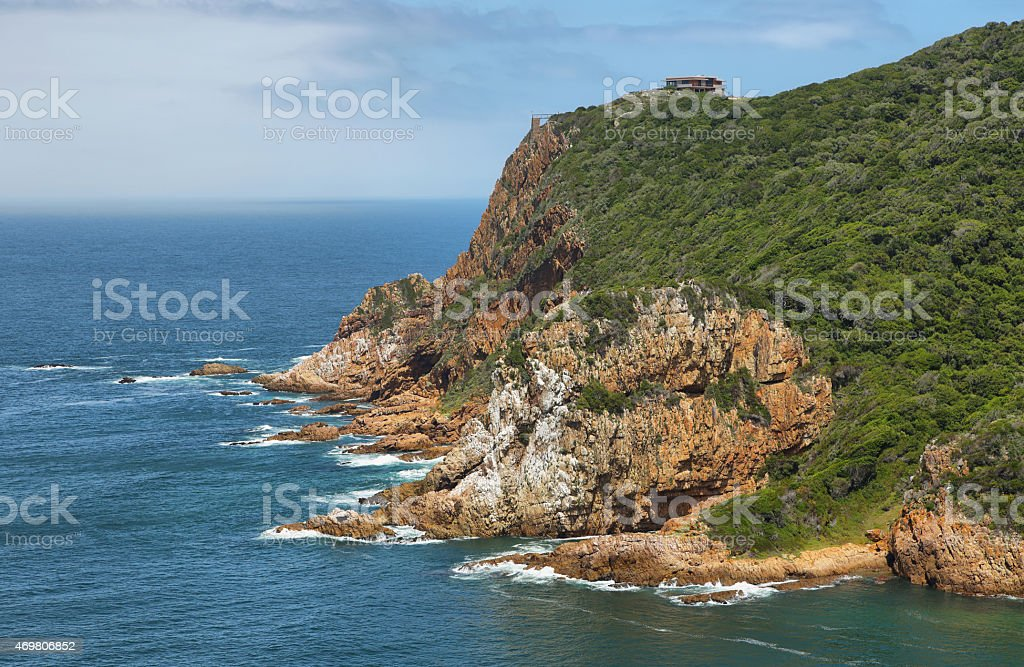 The Heads in Knysna where the lagoon enters the sea stock photo