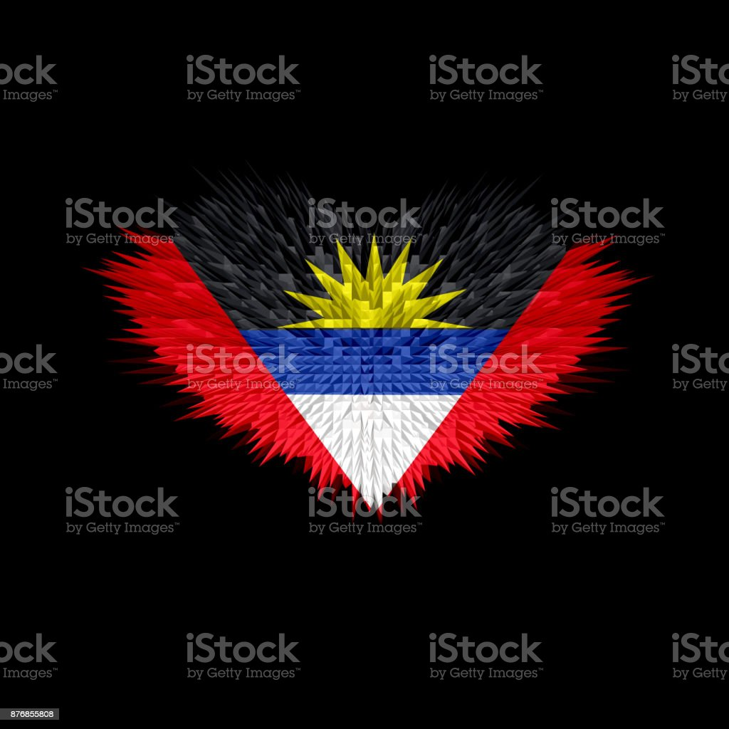 The Heart of Antigua and Barbuda Flag abstract background. stock photo