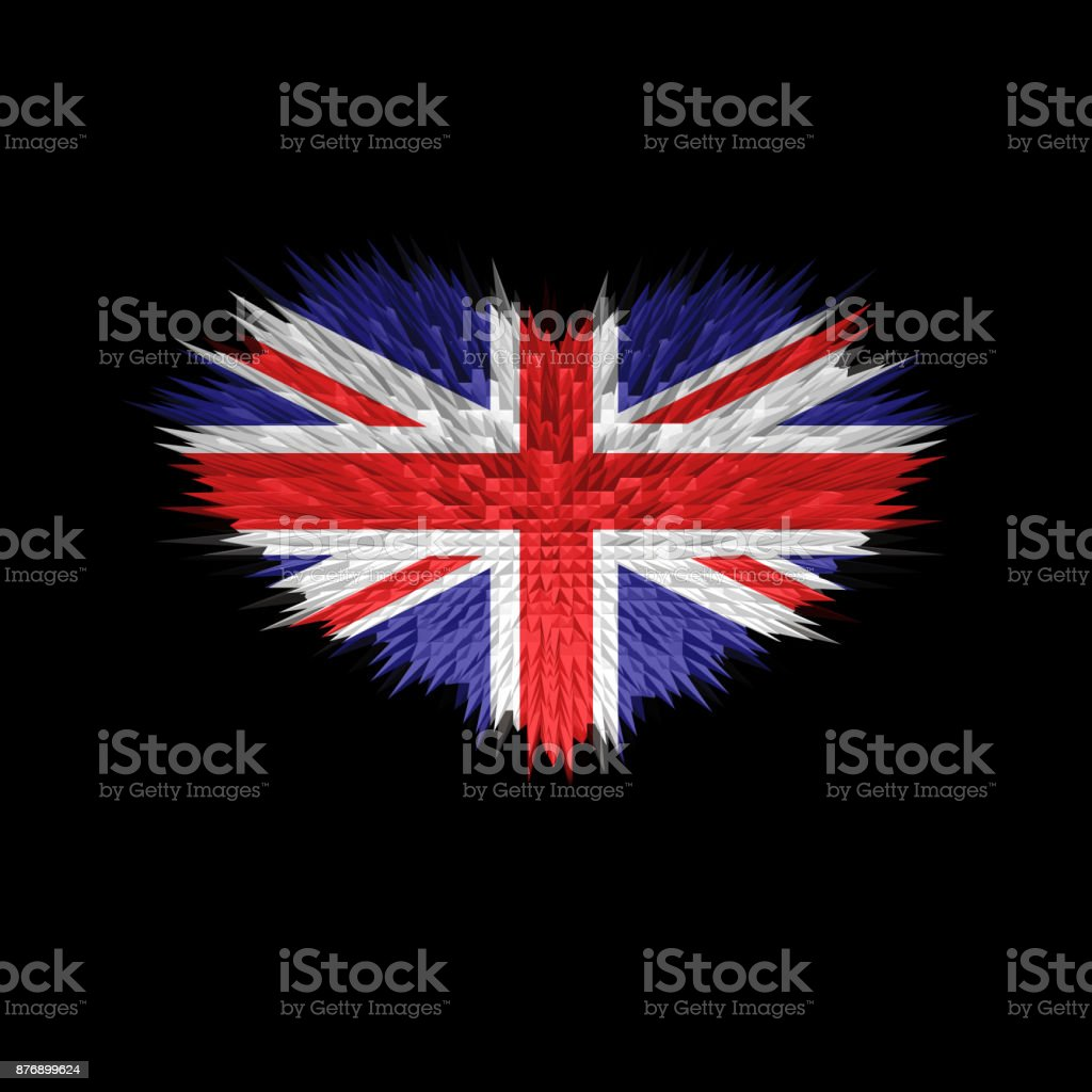 The Heart of United Kingdom Flag abstract background. stock photo