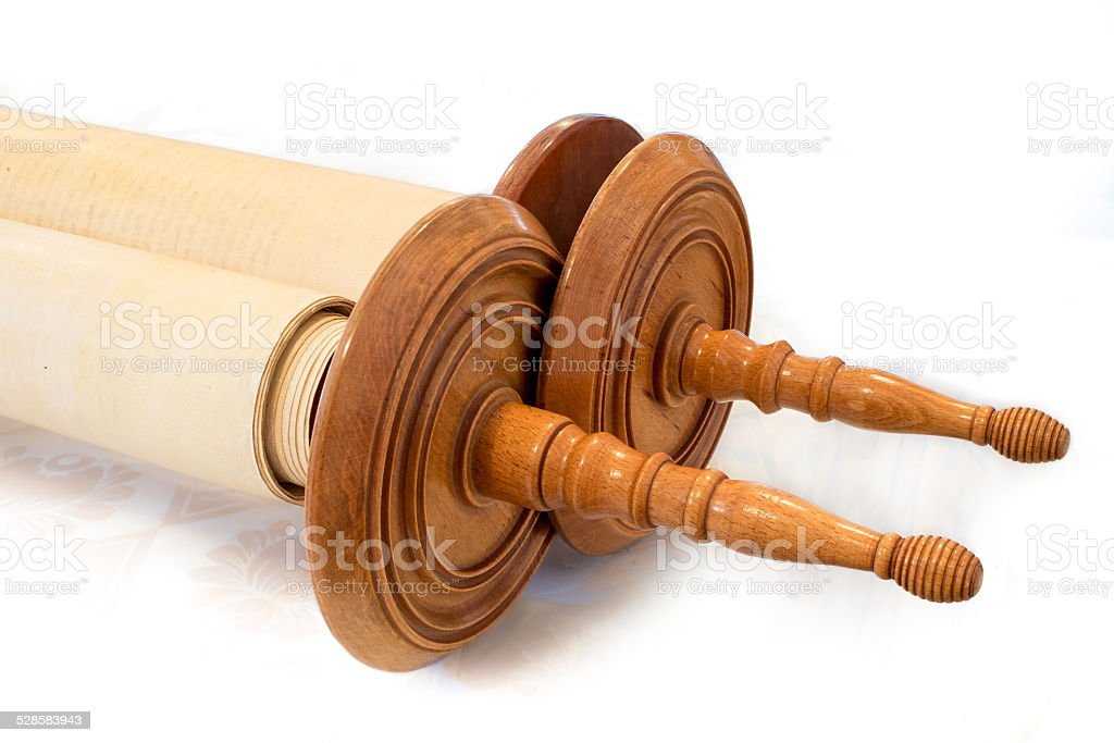 The Hebrew handwritten Torah, on a synagogue alter stock photo