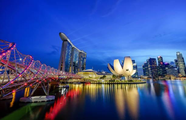 The Helix Bridge, Singapore stock photo