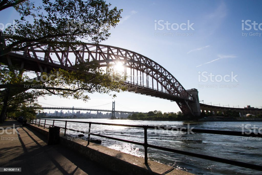 The Hell Gate Bridge and Triborough bridge with the sun, Astoria park, New York stock photo