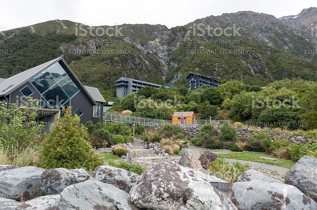 The Hermitage Hotel, Aoraki Mount Cook National Park, New Zealand stock photo