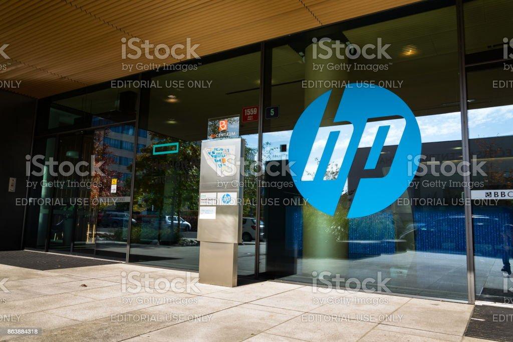 The Hewlett-Packard company logo on headquarters building