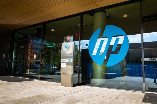 Die Hewlett-Packard-Firmenlogo auf zentrale Gebäude – Foto