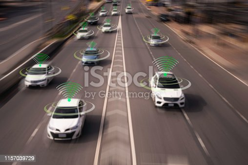 870169952 istock photo The Hi tech technology 4.0 sensing system and wireless communication network of vehicle to used internet signal in car when drive. 1157039729