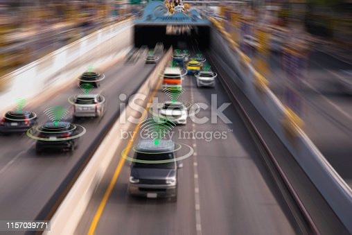 istock The Hi tech technology 4.0 sensing system and wireless communication network of vehicle to used internet signal in car when drive. 1157039771