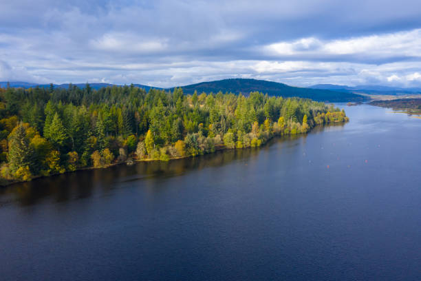 The high angle aerial view from a drone of forest growing beside a Scottish loch in Dumfries and Galloway south west Scotland. The view from a drone as it is flown over a Scottish loch towards mixed woodland. The image was captured on an autumn morning, some of the trees have started to show their autumn colours. johnfscott stock pictures, royalty-free photos & images