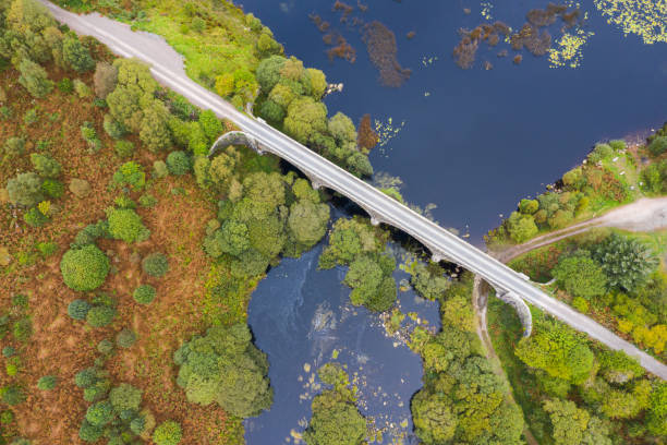 The high angle drone view of a disused railway viaduct in rural Scotland The view from a drone of a disused railway viaduct as it crosses a narrow stretched of water.  The location is in Dumfries and Galloway south west Scotland johnfscott stock pictures, royalty-free photos & images
