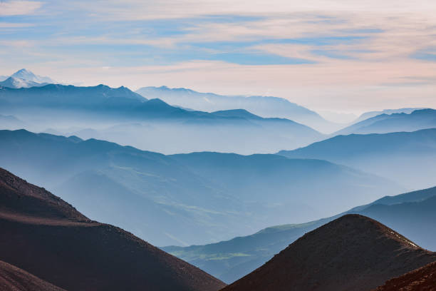 The High Atlas, valleys, hills mist, Morocco,North Africa stock photo