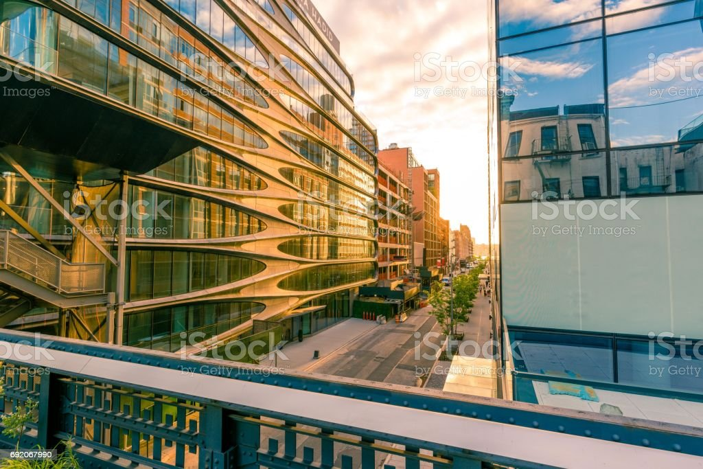 The High Line at sunset stock photo