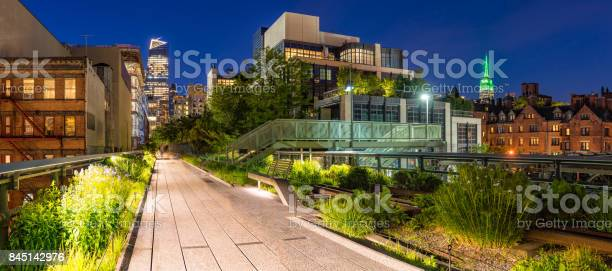 Photo of The High Line at twilight, panoramic view. Chelsea. Manhattan, New York City