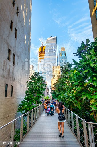 New York City, USA - October 10, 2017: The High Line is a public park built on an historic freight rail line elevated above the streets on Manhattan West Side. It is owned by the City of New York, and maintained and operated by Friends of the High Line.
