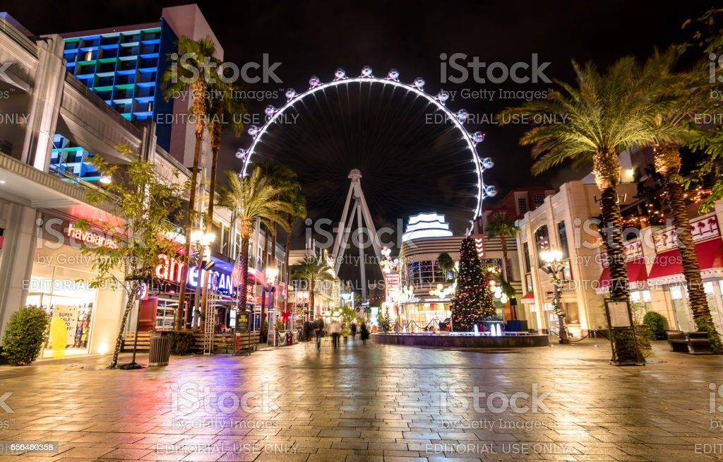 The High Roller Ferris Wheel at The Linq Hotel and Casino at night - Las Vegas, Nevada, USA stock photo