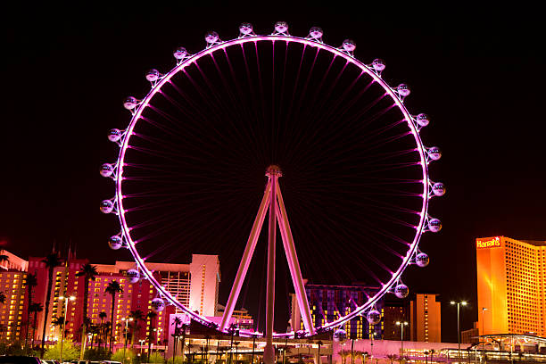 The High Roller Ferris Wheel in Las Vegas , Nevada (nighttime) Las Vegas, Nevada, USA - September 25, 2014: Night picture of The High Roller  Ferris Wheel in Las Vegas stands tall 550-foot and has a diameter of   520-foot. The High Roller  is located on the east end of the area known as The LINQ on the Vegas Strip. ferris wheel stock pictures, royalty-free photos & images