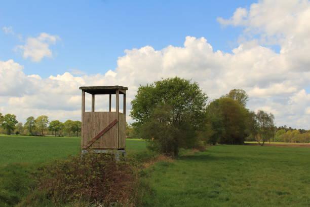 the high seat schöner Hochsitz in der Landschaft hunting blind stock pictures, royalty-free photos & images