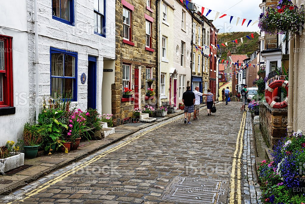 The High Street in Staithes, North Yorkshire, England stock photo