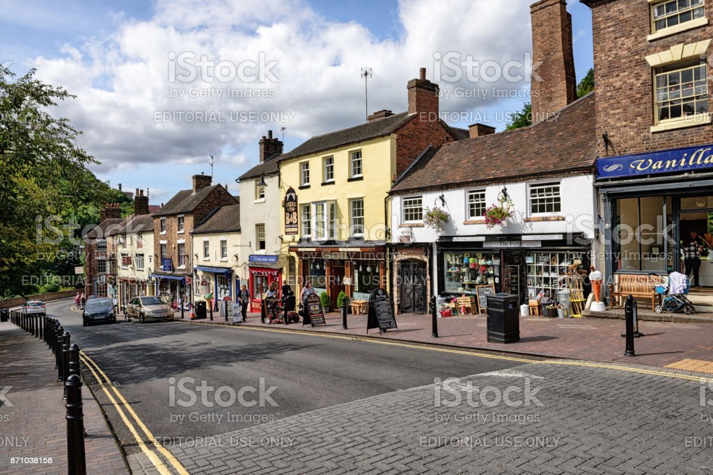 The High Street,  Ironbridge,  England stock photo