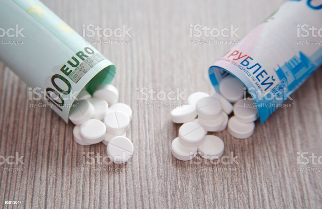 The higher cost of drugs stock photo