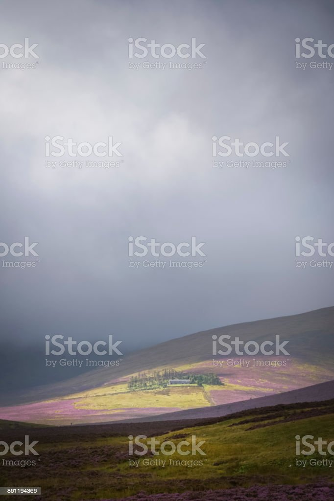 The highest youth hostel in Britain Skiddaw House surrounded by the purple heather and dark clouds stock photo