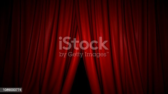 High-resolution 3D animation of the red velvet theatre curtains opening/closing