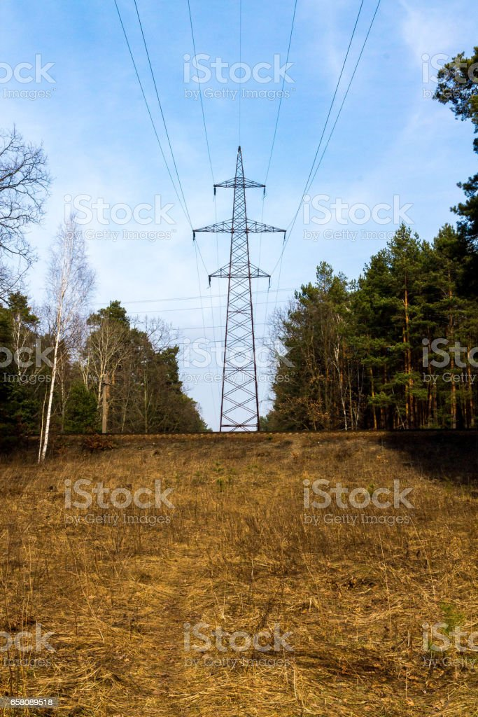 The high-voltage pole in the forest. Line current transfer royalty-free stock photo