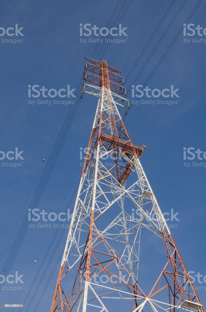 The high-voltage tower in the sky background stock photo