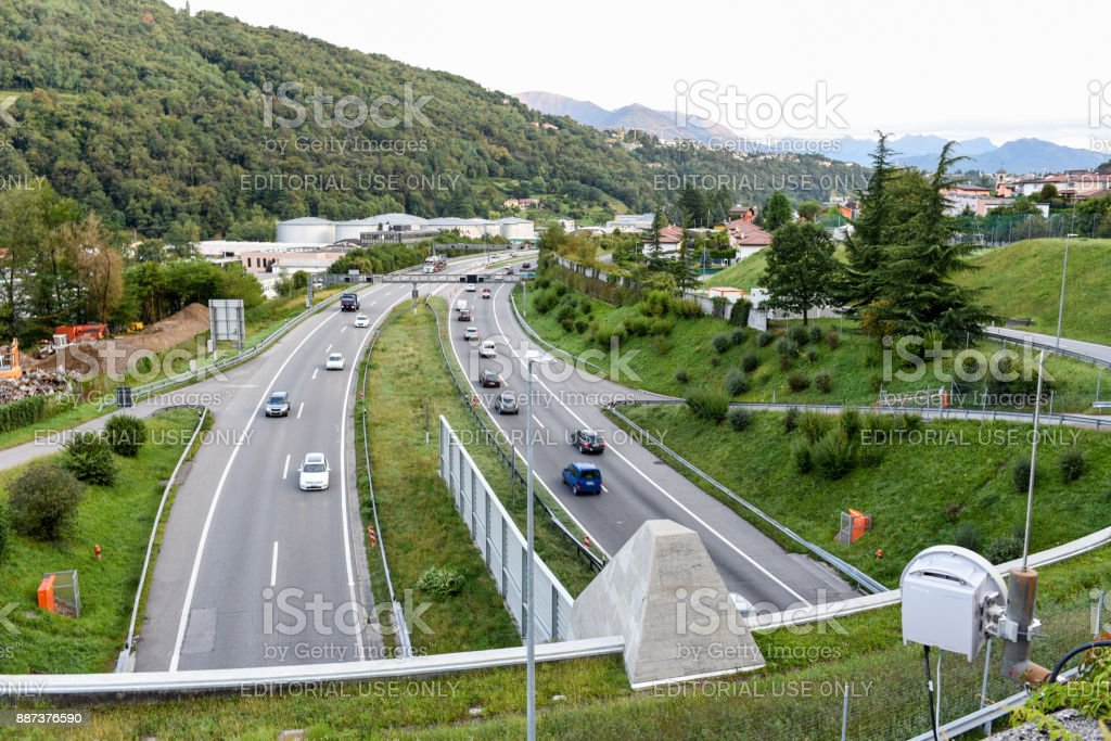 The highway at Lugano on the italian part of Switzerland stock photo