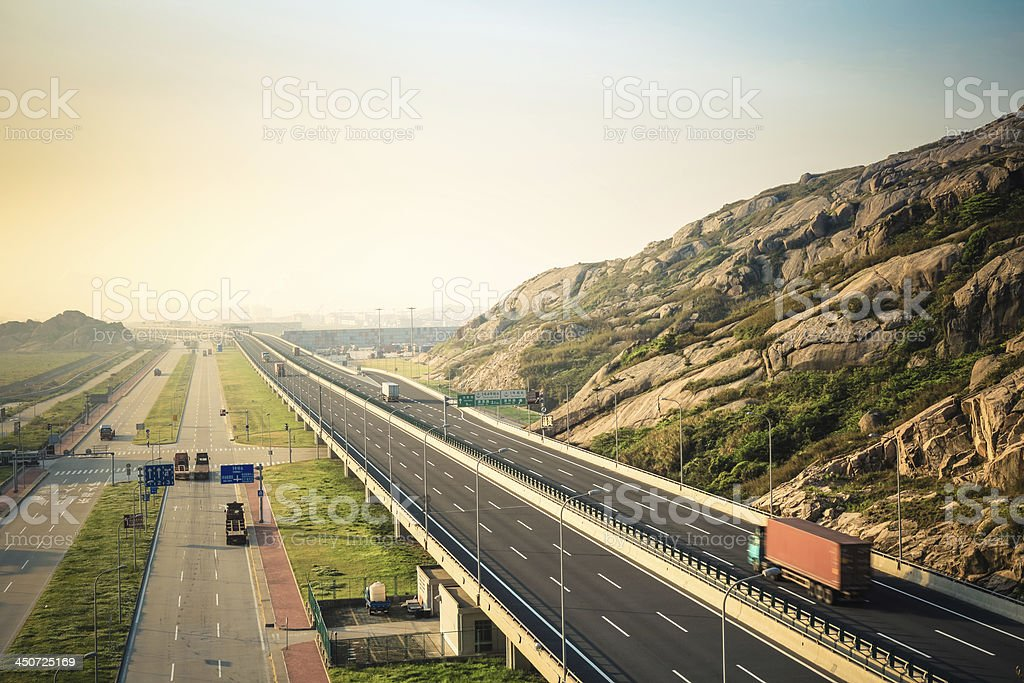 the highway to container port stock photo